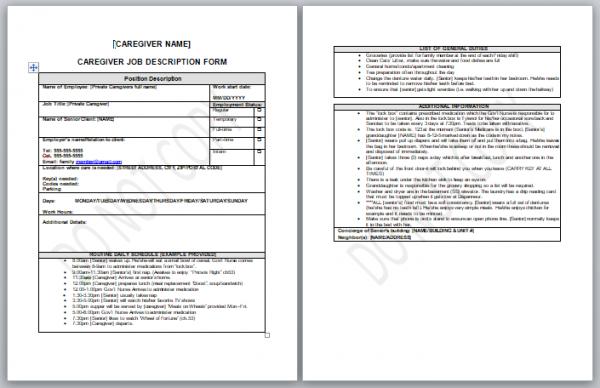 caregiver job description form