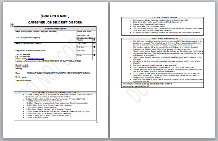 caregiver job description form