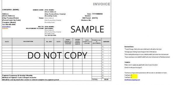 caregiving invoice template