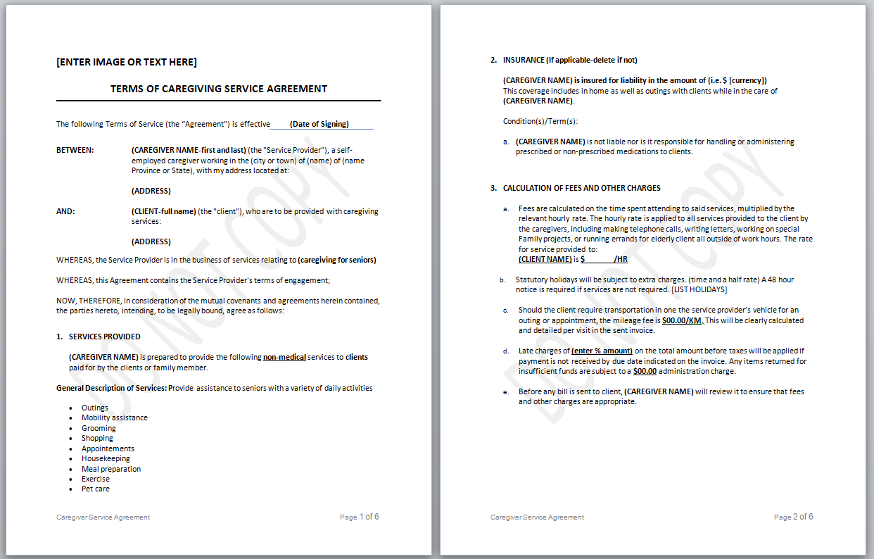 terms of caregiving service agreement