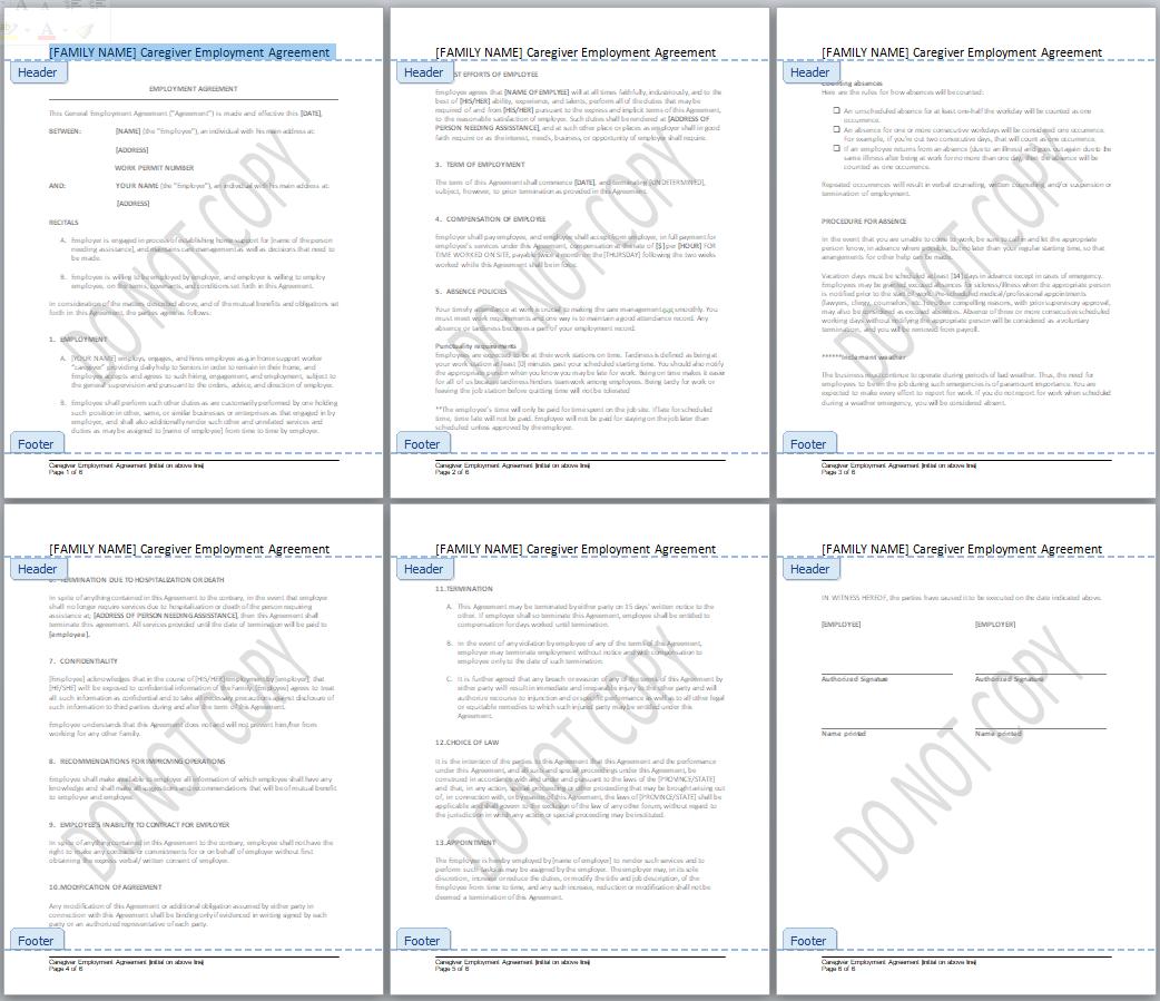 caregiver employment agreement
