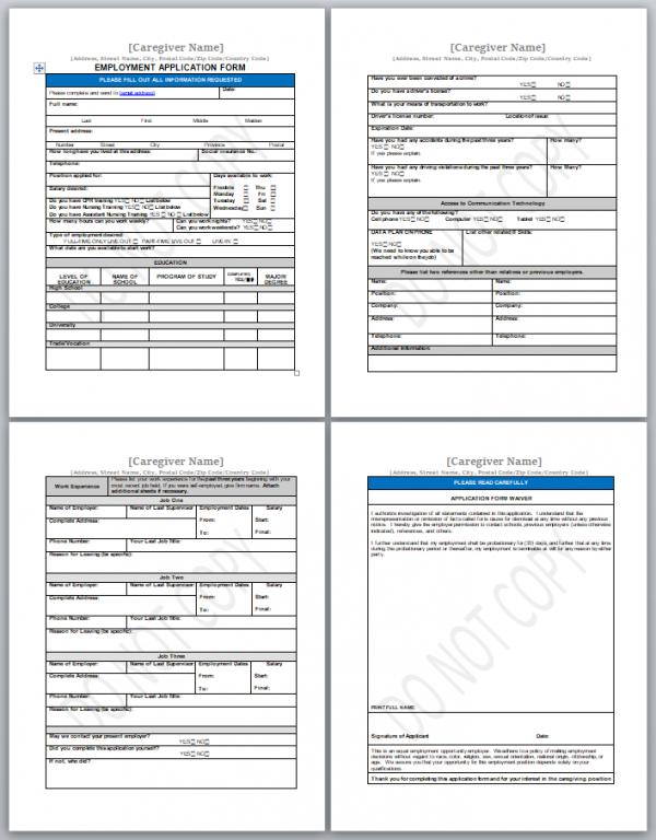 caregiver application form