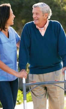 caregiver and senior client