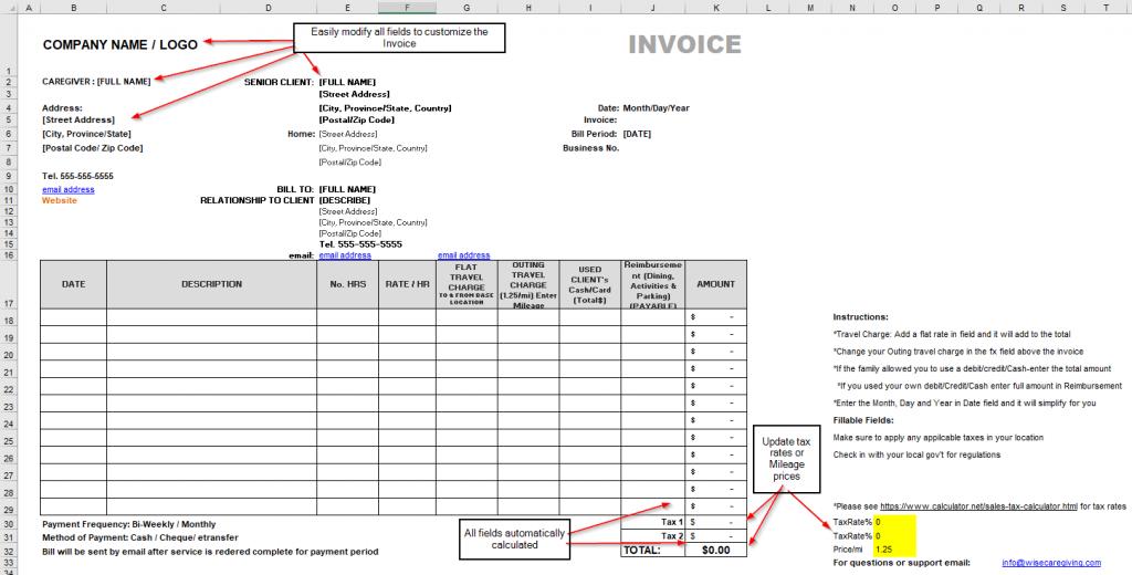 senior care invoice