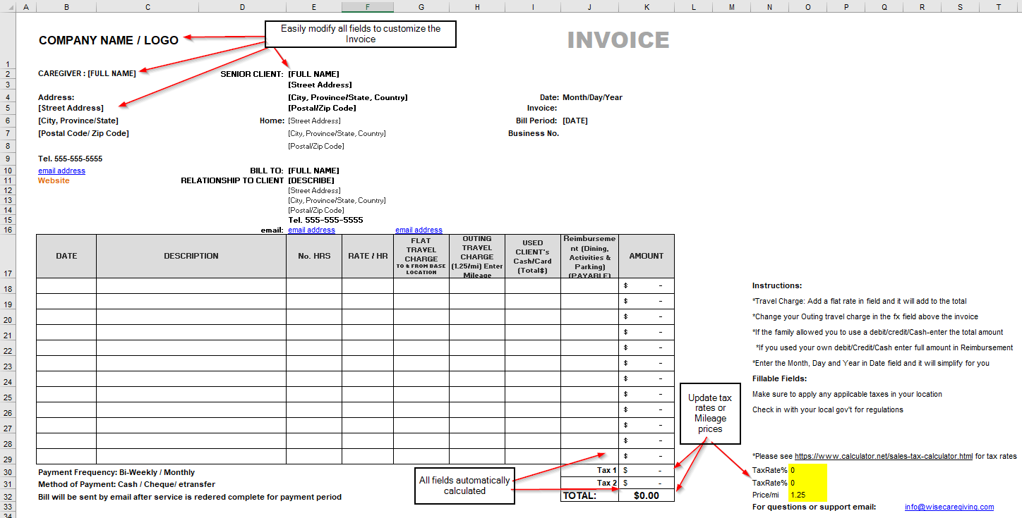 senior care invoice
