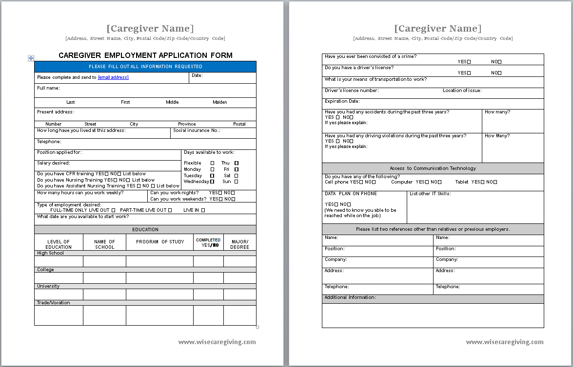caregiver application form