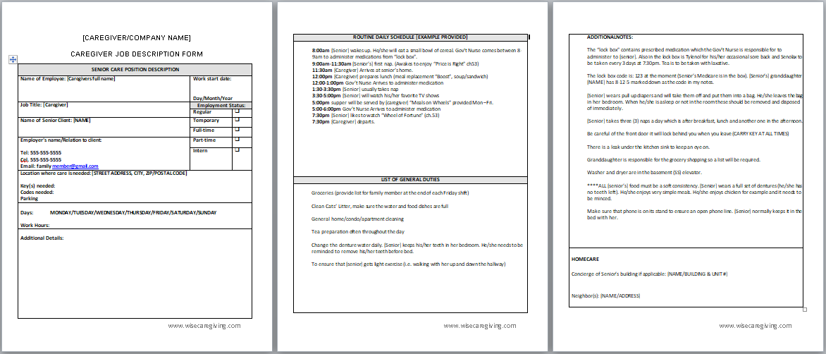 caregiver job description template