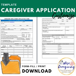caregiver job application template