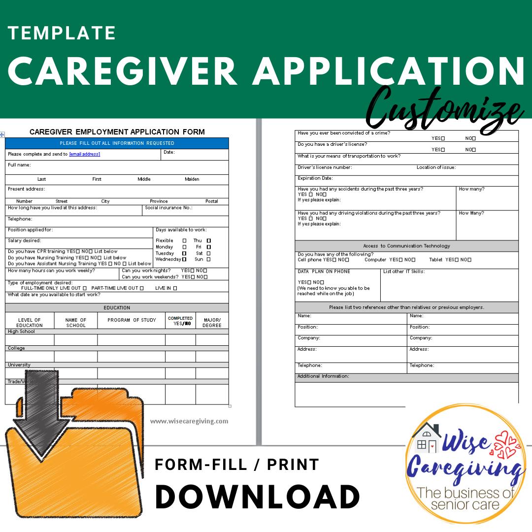 caregiver job application template