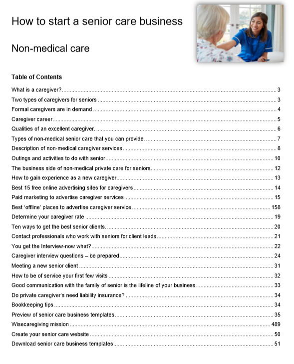 how to start a senior care business guide table of contents-preview
