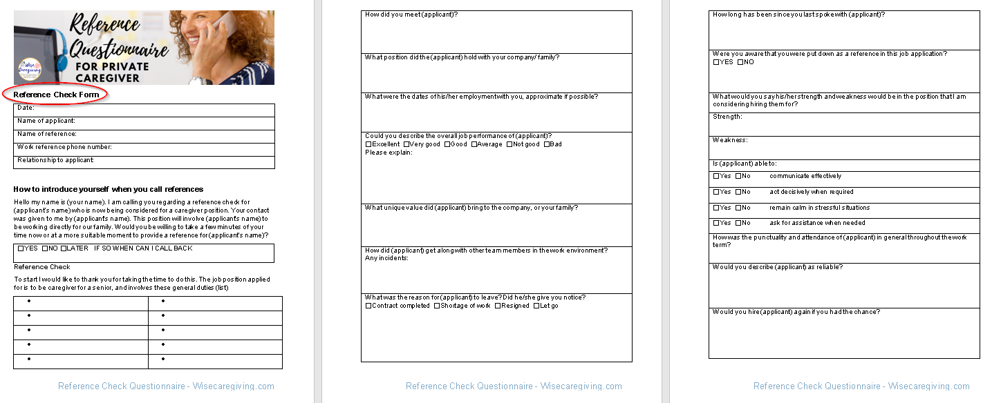 reference check questionnaire template-wisecaregiving