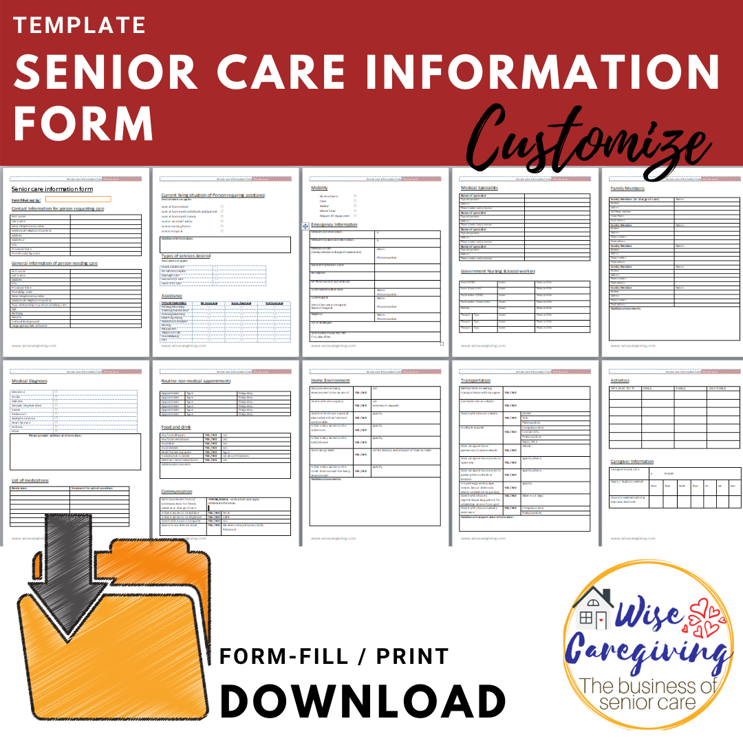 senior care information form template