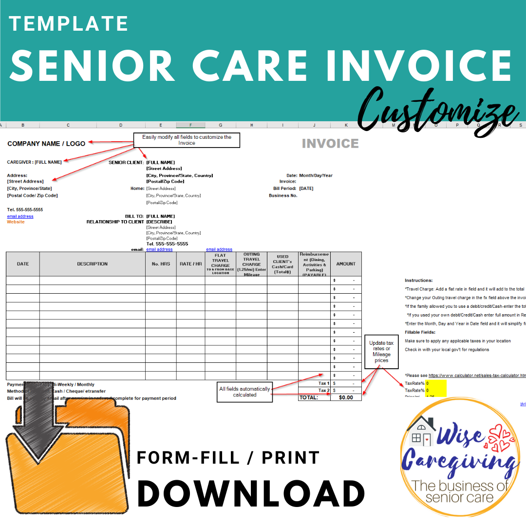 senior care invoice template
