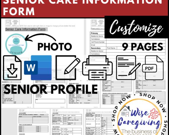 senior care information form- client profile template