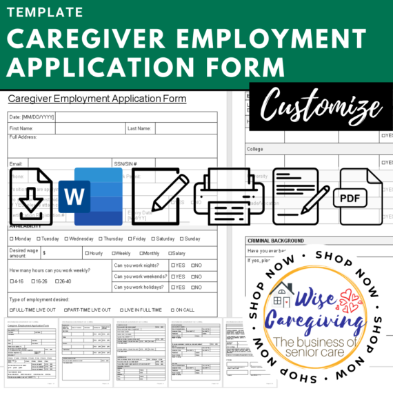 caregiver employment application form - wise caregiving