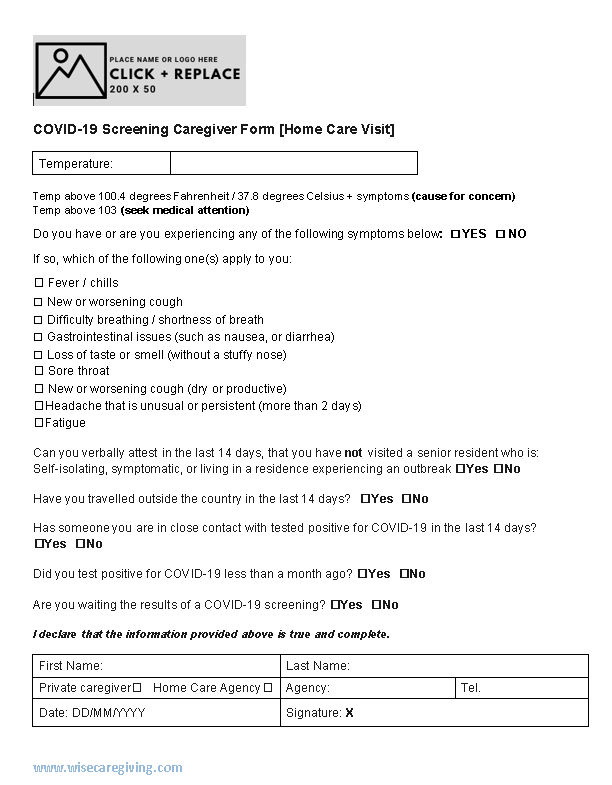 COVID-19 Screening caregiver form