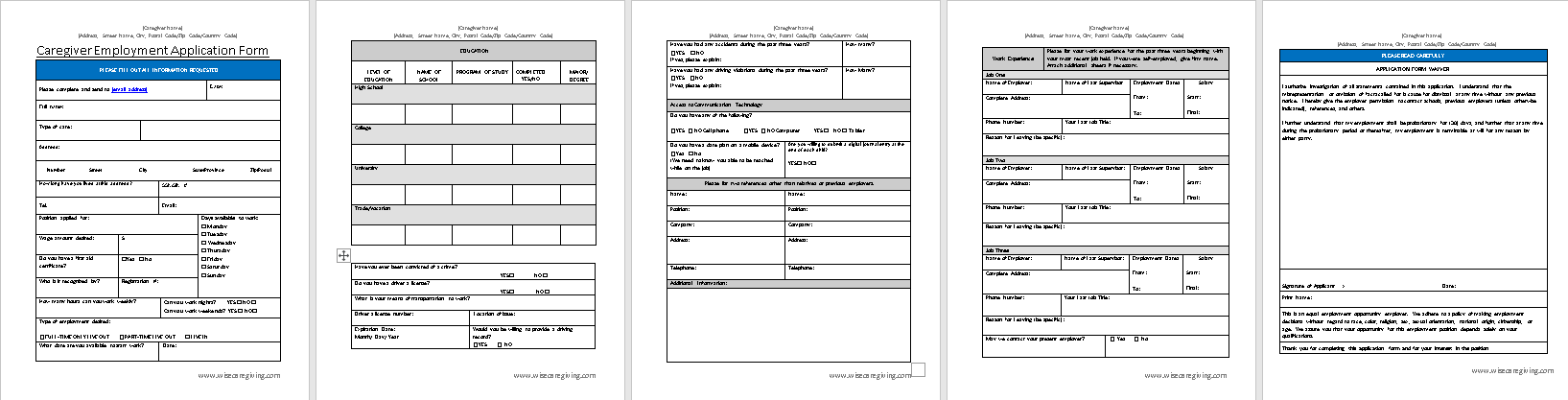 Caregiver Employment Application Form Template