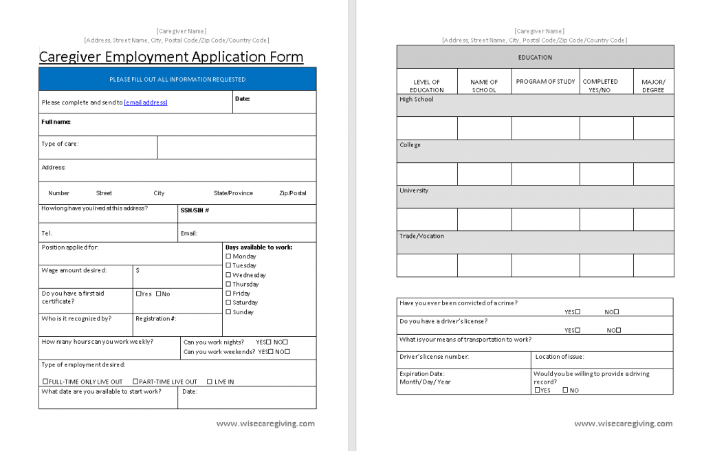Caregiver Employment Application Form