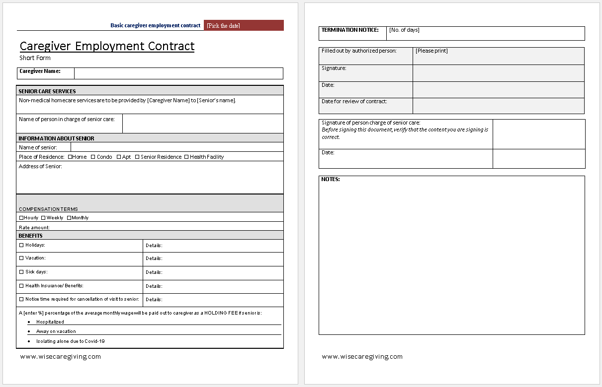 Caregiver Employment Contract Template-preview