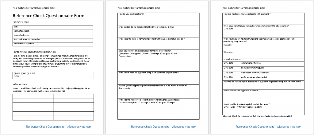 Reference Check Questionnaire Form Template