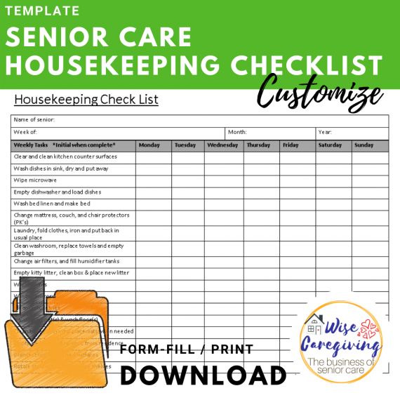 Senior care housekeeping checklist