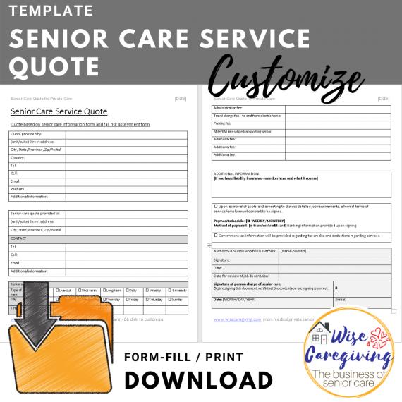 Senior care quote template