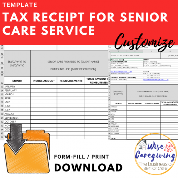 Tax receipt for senior care services template