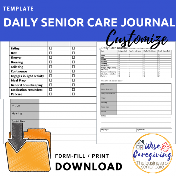 Daily senior care journal template