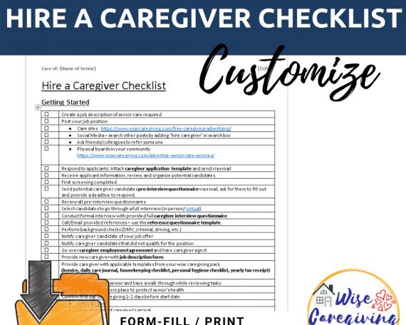 Hire a caregiver checklist template-wise caregiving