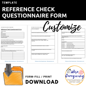 Reference Check Questionnaire Form Template-wise caregiving