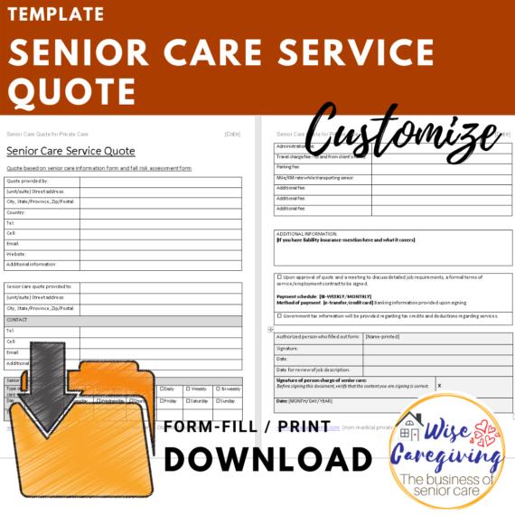 senior care service quote template