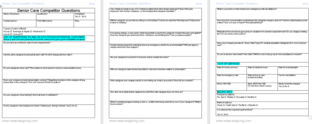 Senior care competitor questions template