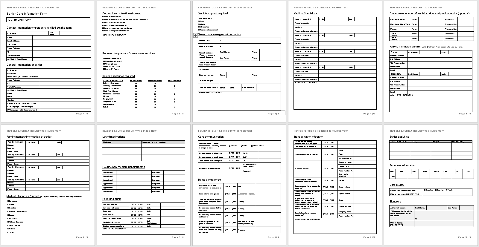 Senior Care Information Form Template-full preview-Hire Private-wise caregiving