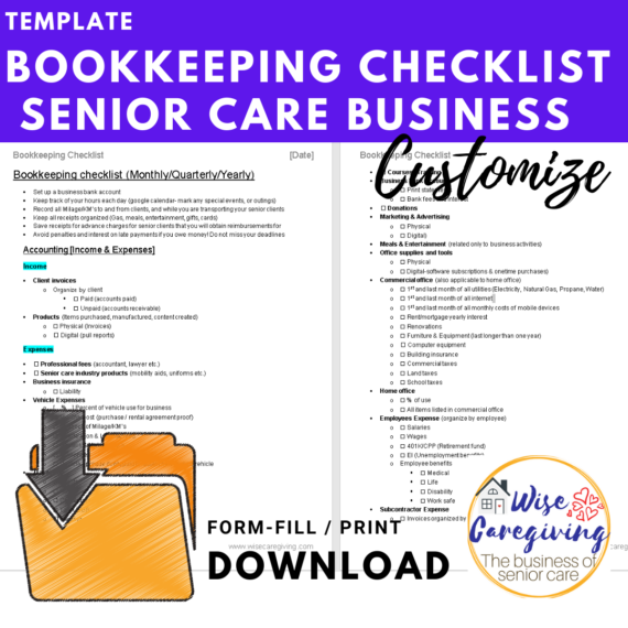 bookkeeping checklist -senior care business- template