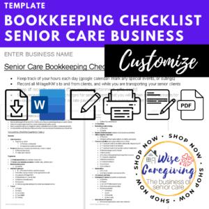senior care bookkeeping checklist template