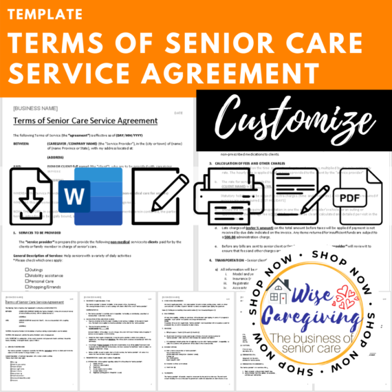 terms of senior care service agreement template
