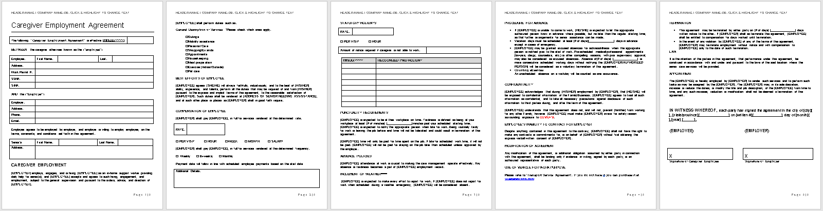 Caregiver Employment Agreement-full preview of template-wise caregiving