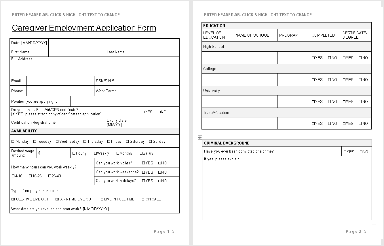 Caregiver Employment Application-preview of template-wise caregiving