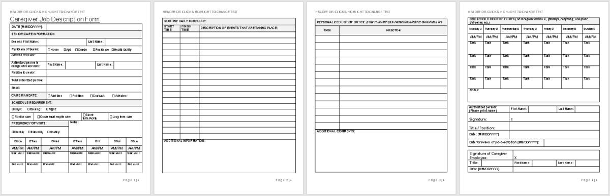 Caregiver Job Description Form Template-wise caregiving-full preview