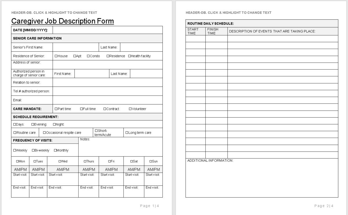 Caregiver Job Description Form Template-wise caregiving.