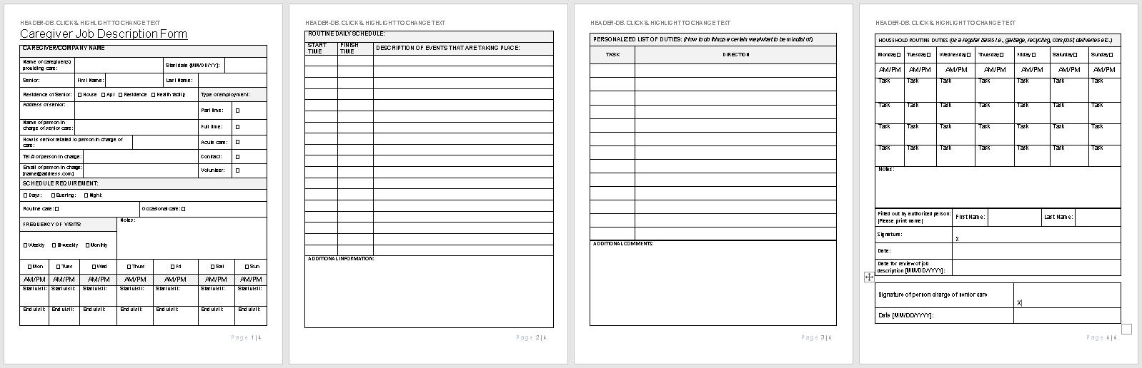 Caregiver Job Description Form-full preview of template-wise caregiving