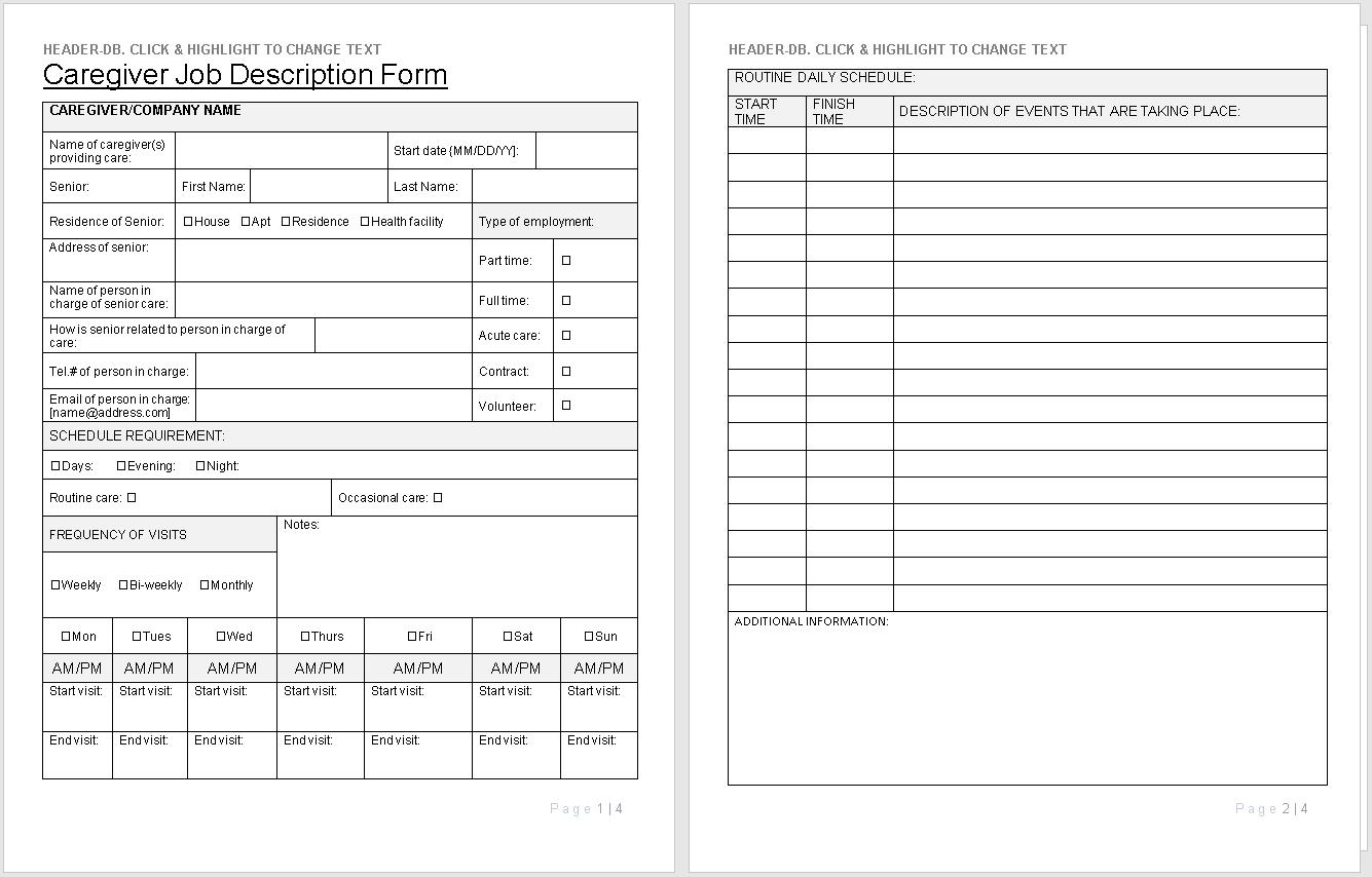Caregiver Job Description Form preview-wise caregiving