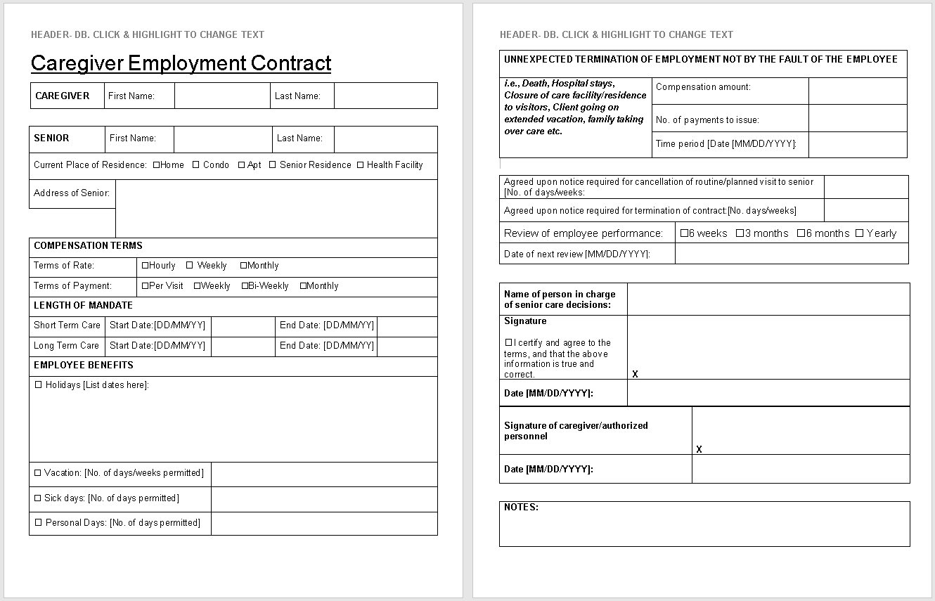 Caregiver contract preview-wisecaregiving