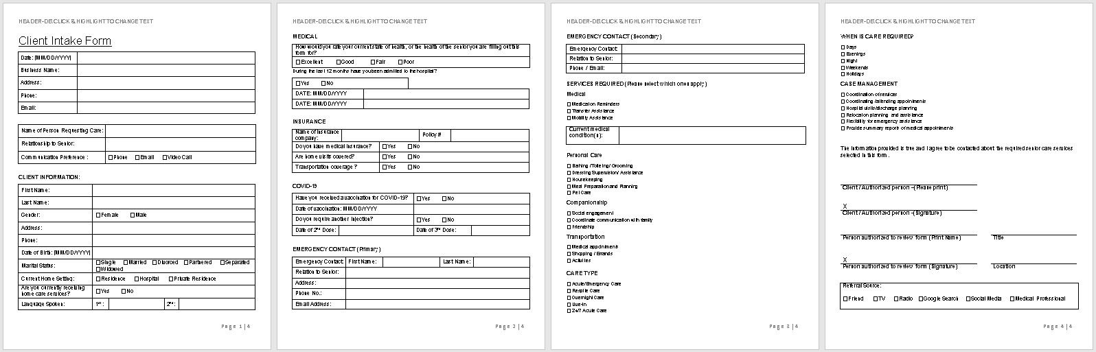 Client Intake Form-Senior Care-full preview of template-wise caregiving