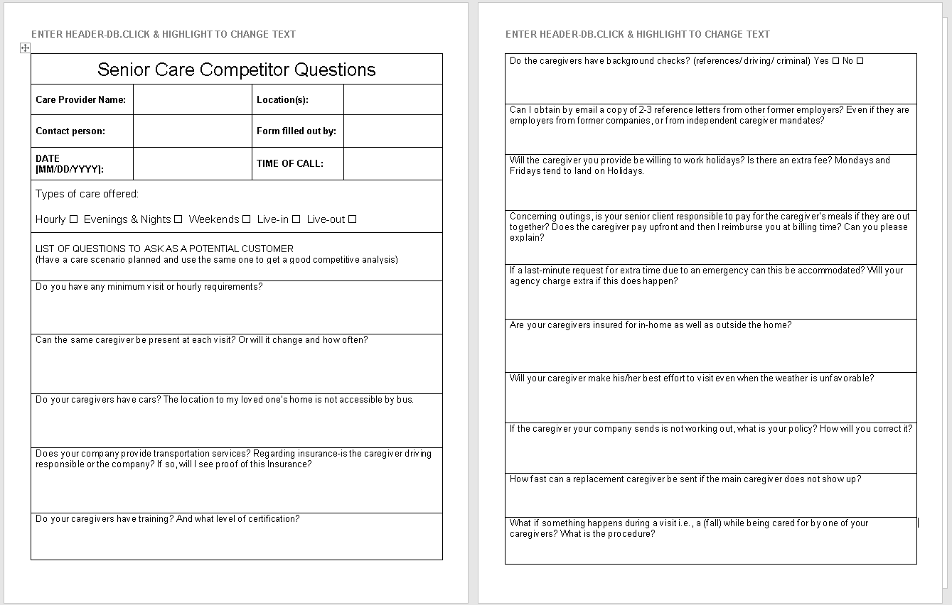 Senior Care Competitor Questionnaire-preview of template-wise caregiving