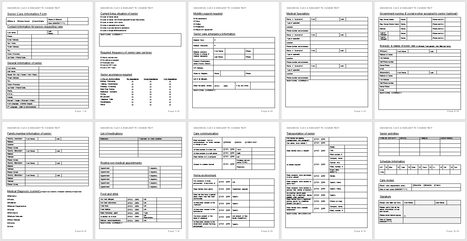 Senior Care Information Form-full preview of template-wise caregiving