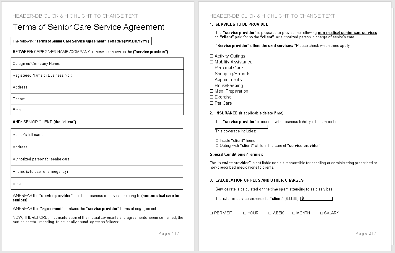 Terms of Senior Care Service Agreement-preview of Template-wise caregiving
