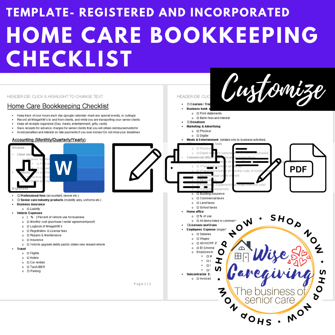 home care bookkeeping checklist template-wise caregiving