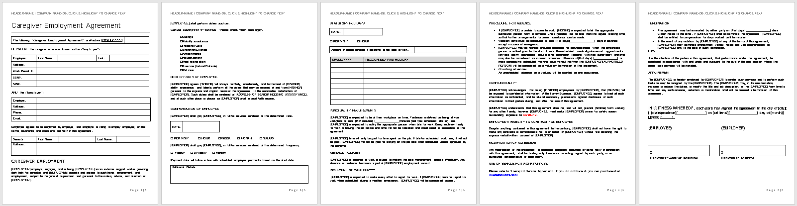 Caregiver Employment Agreement Template-full preview-Hire Private-wise caregiving