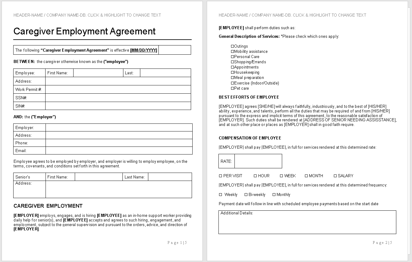 Caregiver Employment Agreement Template-preview-Hire Private-wise caregiving.docx - Word